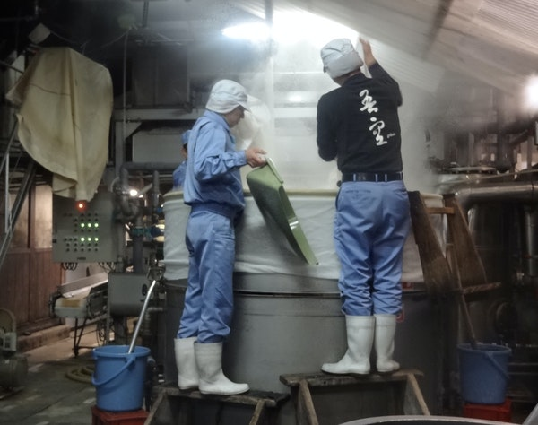 At Kitaya Brewery in Japan's Fukuoka Prefecture, the first step is to steam the rice.