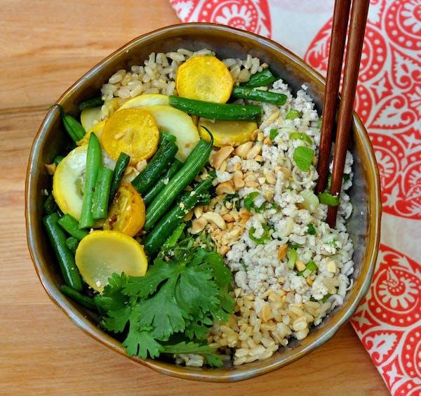 Lemongrass Turkey Rice Bowls with Vegetable Stir-fry