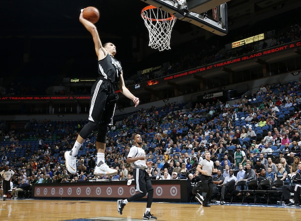 Wolves guard Zach LaVine stole the ball and dunked it during a team scrimmage Monday.