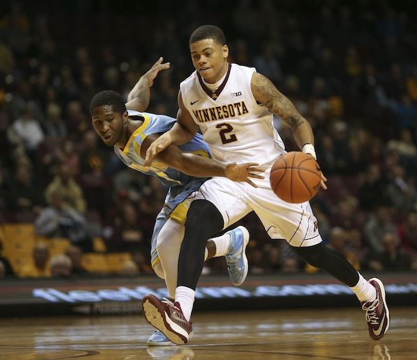 Gophers guard Nate Mason worked his way around Southern's Michael Harrel during a nonconference blowout at Williams Arena in December. Mason has fou