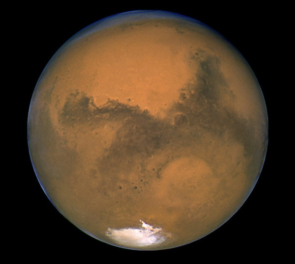 Mars as photographed by the Hubble Space Telescope.