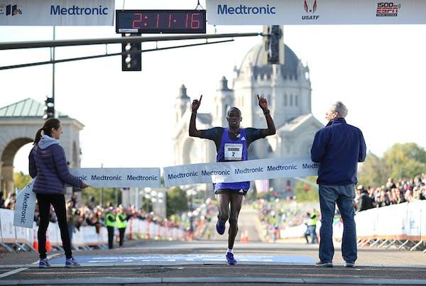 More than 11,000 people ran the Twin Cities Marathon Sunday morning. Dominic Ondoro was the men's winner.