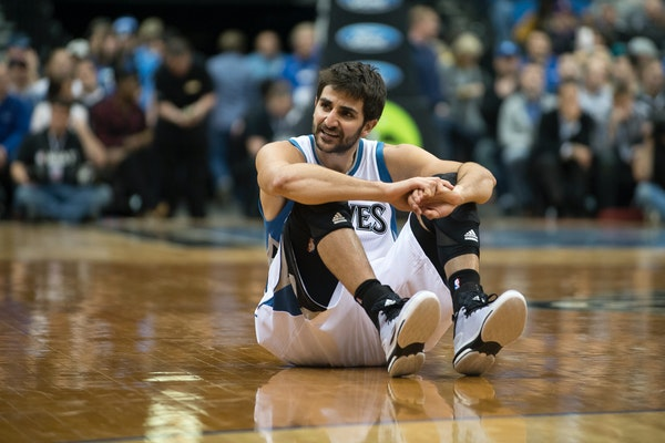 Ricky Rubio sat out Monday's team scrimmage after he missed the last couple practices because of what interim coach Sam Mitchell called a quad strain.