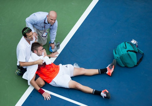 Jack Sock was forced to retire due to cramping and heat exhaustion during his second-round men's singles match against Ruben Bemelmans in the U.S. Ope