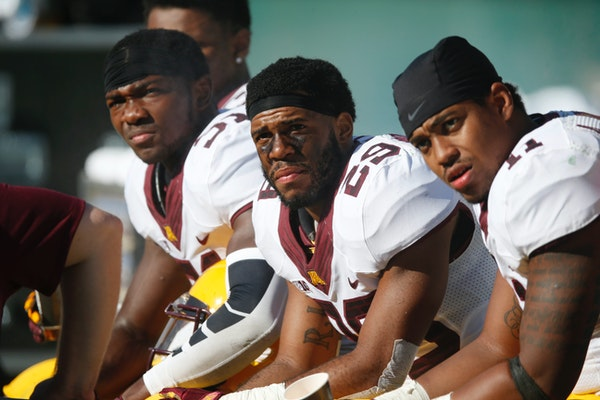 The Gophers have major injury concerns in their secondary. Cornerback Eric Murray, left, is healthy, but cornerback Briean Boddy-Calhoun, center, and