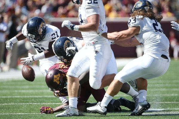 Gophers receiver Rashad Still fumbled against Kent State, and the Golden Flashes returned it for a touchdown in Minnesota's 10-7 victory on Sept. 19.