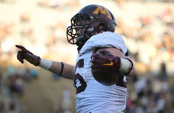 Gophers tight end Brandon Lingen caught two touchdown passes against Purdue last week.