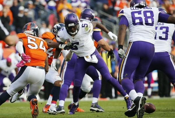 Broncos safety T.J. Ward stripped the ball from Vikings quarterback Teddy Bridgewater late in the fourth quarter, ending Minnesota's comeback hopes.