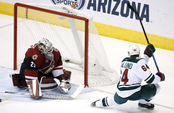 The Wild's Mikael Granlund scored against Coyotes goalie Anders Lindback during the second period of the Wild's 4-3 victory Thursday.