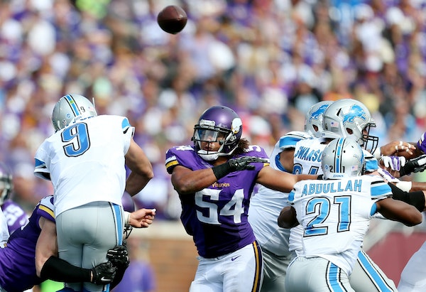 Rookie linebacker Eric Kendricks (54), shown against Detroit, has 19 tackles and notched his first sack on Sunday at Denver.