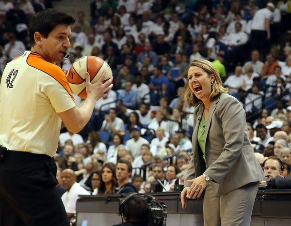 Minnesota Lynx head coach Cheryl Reeve yells during the first half.