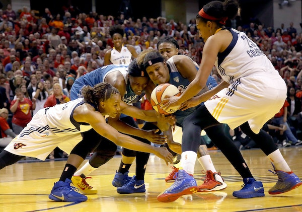 Players fought for the ball in Game 3. It's been a competitive series, with the Fever outscoring the Lynx 298-295.