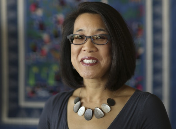 Erika Lee, historian and author, in her office at the University of Minnesota, where she serves as director of the Immigration History Research Center
