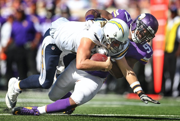 Defensive end Everson Griffen sacked Chargers quarterback Philip Rivers during the Vikings; 31-14 victory on Sunday. The Vikings had four sacks and a