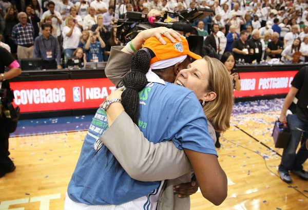 Coach Cheryl Reeve celebrated winning the WNBA title with Sylvia Fowles, the finals MVP, after the Lynx won Game 5 on Wednesday night at Target Center
