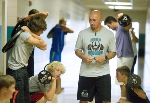 Coach David Blom of Atwater-Cosmos-Grove City High School in Grove City, Minn., wants his football players to be respectful, even if it doesn't seem