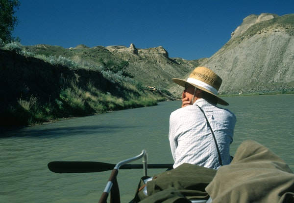 """Sue Leaf on the Marias River in 2005 in central Montana. She writes of the trip in her memoir, """"Portage."""""""
