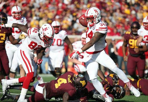 Nebraska running back Terrell Newby plowed through the Gophers defense for a second-quarter touchdown Saturday at TCF Bank Stadium.