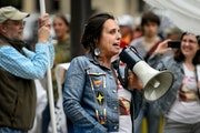 Winona LaDuke led protestors as they demonstrated outside the Minnesota Public Utilities Commission in St. Paul, before the hearing on June 3, 2015