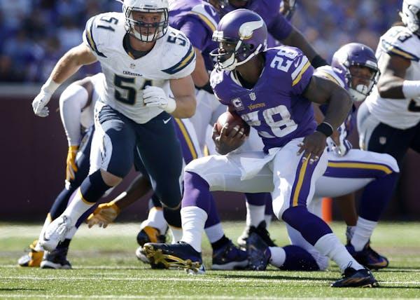 Minnesota Vikings running back Adrian Peterson (28) during a run in the third quarter.