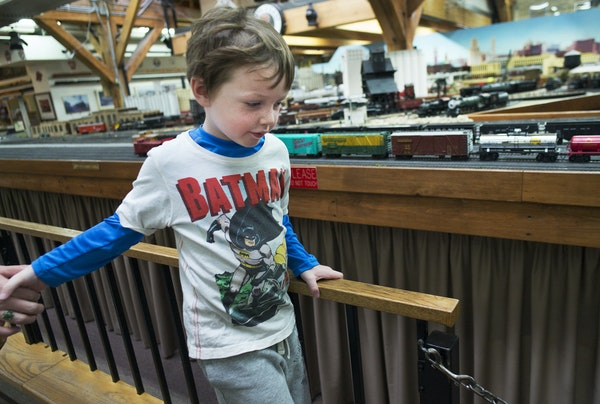 Benjamin Allison, 4, of St. Paul was enthralled with the displays at the Twin City Model Railroad Museum at Bandana Square during his first visit Oct.