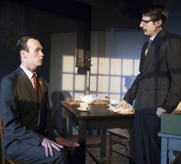 Gabriel Murphy (left), a Soviet writer, is questioned by Skyler Nowinski (right), an agent.