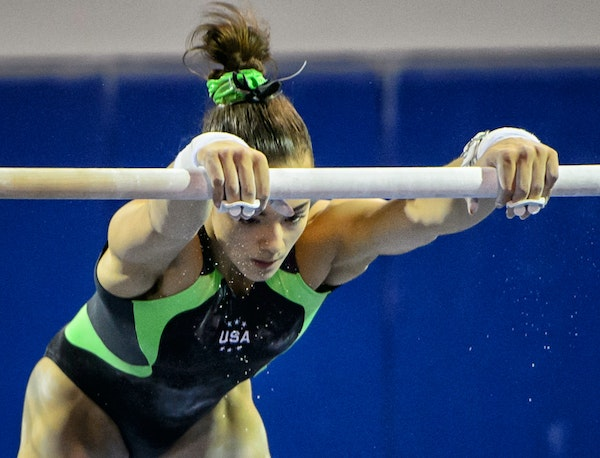 Maggie Nichols practices at the Twin City Twisters Gym in Champlin, which will send four gymnasts to nationals.