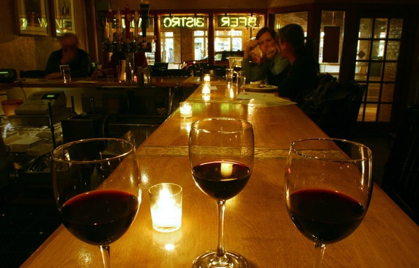 A flight of wine was set on the bar at Beaujo's in Edina, where restaurants weren't allowed to serve alcohol until 1985. Responding to the explosion o