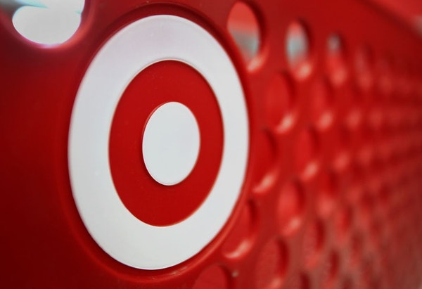The Target Corp. logo is seen on a shopping cart at a store.