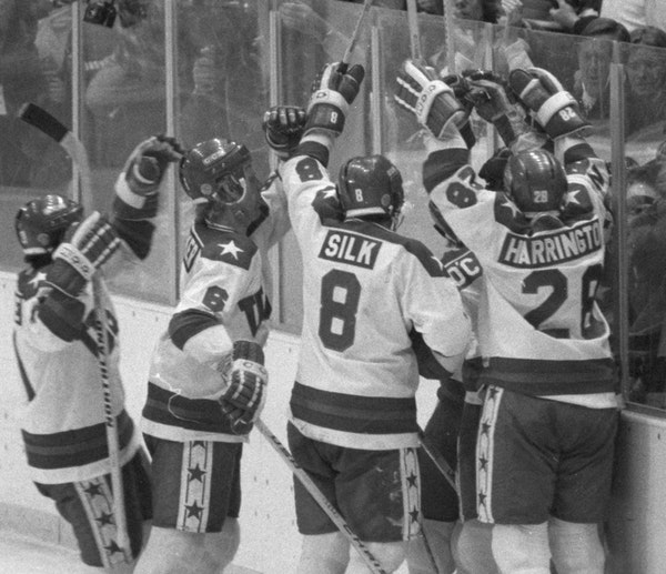 Lake Placid, New York, February 1980 - Miracle on Ice - the USA hockey team defats the soviets on the way to a gold medal victory over Finland. -- USA