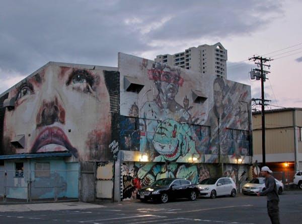 Street art in Honolulu's up-and-coming Kakaako neighborhood.