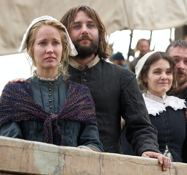"""Anna Camp and Vincent Kartheiser as Dorothy and William Bradford onboard the Mayflower in """"Saints & Strangers,"""" premiering Sunday."""