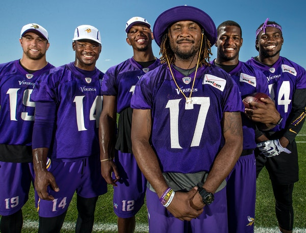 Minnesota Vikings receivers Adam Thielen, Stefon Diggs, Charles Johnson, Jarius Wright, Mike Wallace and Cordarrelle Patterson.