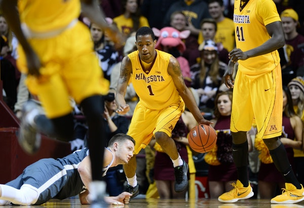 Gophers guard Dupree McBrayer dribbled down the court in the second half against Southwest Minnesota State.