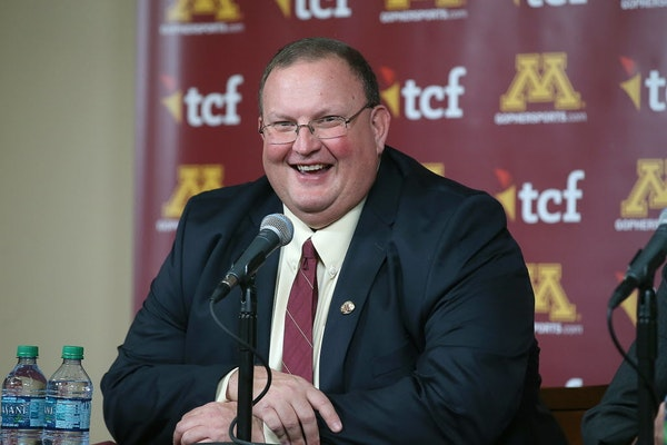 Tracy Claeys was all smiles after he was named the new head coach for the Minnesota Gophers football team during a press conference at TCF Bank Stadiu