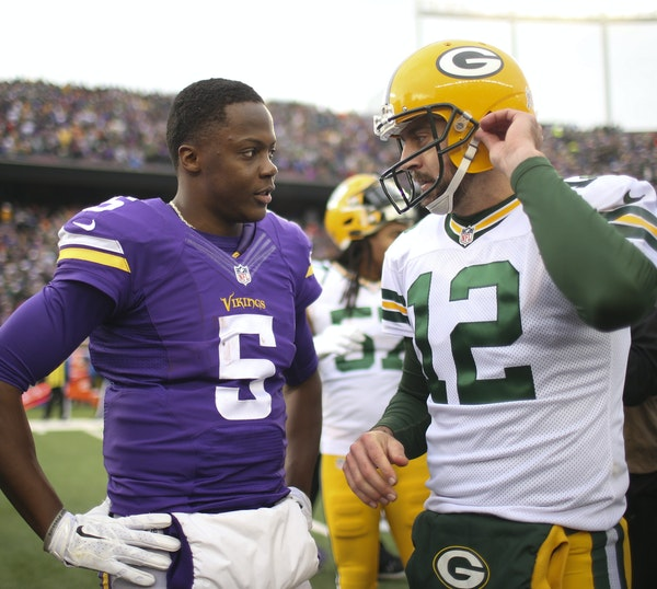 """Vikings QB Teddy Bridgewater is learning his craft, partially by watching Packers QB Aaron Rodgers' ability to extend plays. """"It's off the chart"""