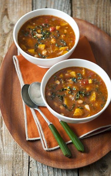 Zesty Pumpkin, Tomato and White Bean Soup.