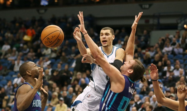 Wolves guard Zach LaVine was fouled by Charlotte's forward Spencer Hawes last Tuesday, the first of four consecutive starts for LaVine at point guar