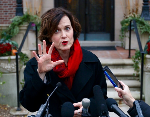 Minneapolis Mayor Betsy Hodges met with reporters outside the governor's residence after a meeting Friday with the local and national leadership of th