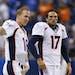 Denver Broncos quarterbacks Peyton Manning, left, and Brock Osweiler.