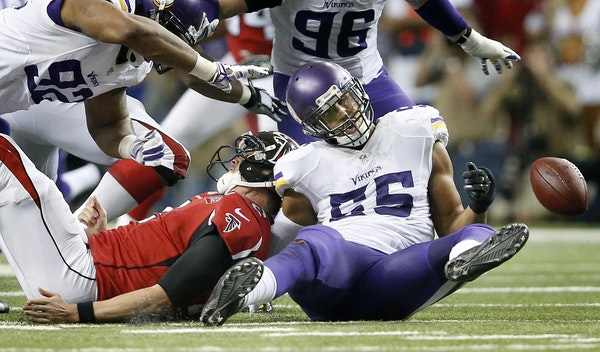 Atlanta Falcons quarterback Matt Ryan (2) fumbled the ball after being sacked by Anthony Barr (55) in the fourth quarter.