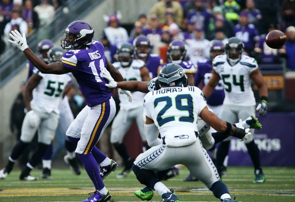 Seahawks safety Earl Thomas was in perfect position to intercept a pass that sailed over the head of Stefon Diggs in the second quarter.