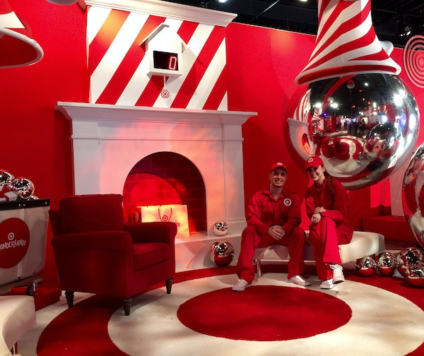 """Two Target staffers posed inside Wonderland, a """"retail spectacle"""" in New York, where the company is selling toys and experimenting with digital mercha"""