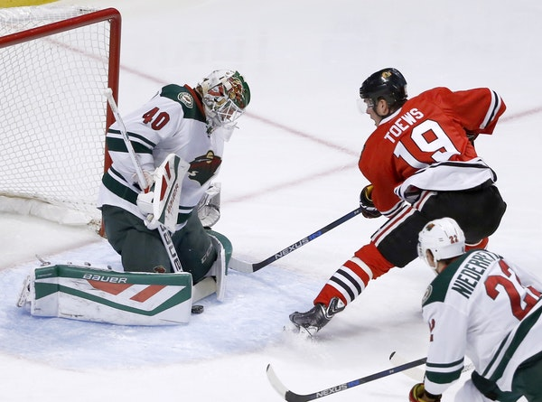 Wild goalie Devan Dubnyk denied Chicago captain Jonathan Toews on a point-blank shot in the first period. Dubnyk made 30 saves.
