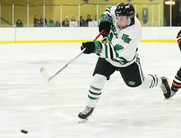 Forward Luke Ranallo fired a shot that would find the back of the net for the first of four Hill-Murray shorthanded goals in a 5-2 victory over White