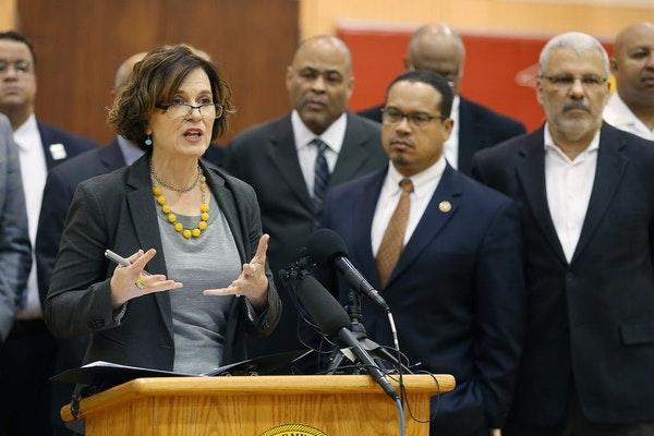 Minneapolis Mayor Betsy Hodges spoke at a press conference Monday, with U.S. Rep. Keith Ellison standing beside her, and called for an end to the enca