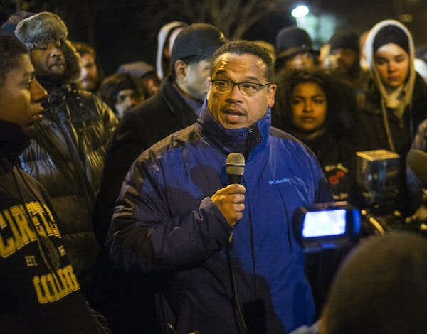 Congressman Keith Ellison encouraged protesters, who demanded answers over the death of Jamar Clark, to remain peaceful when he spoke Nov. 19 outside