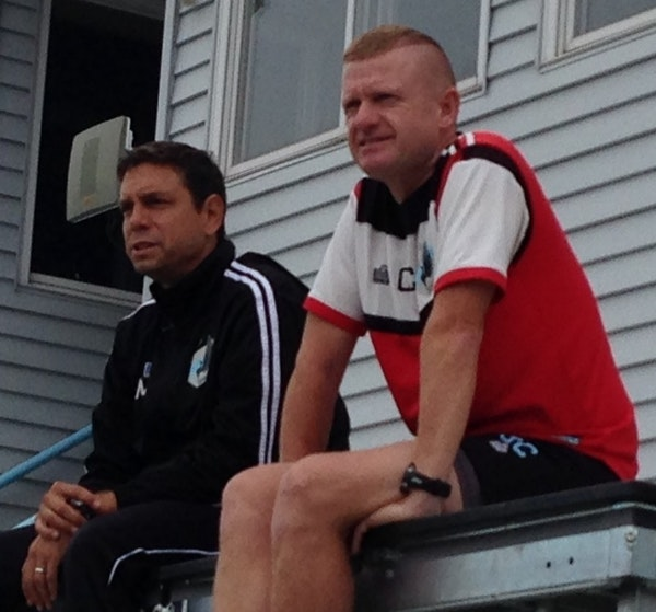 Carl Craig (left) and Manny Lagos (right) watched practice earlier this season.