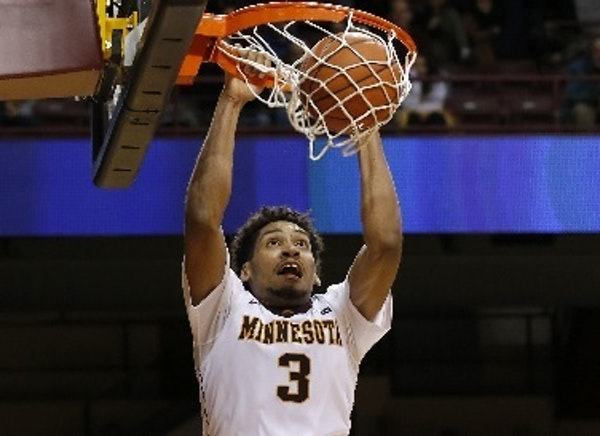 Gophers freshman forward Jordan Murphy dunked during the second half of Minnesota's 89-83 victory over Clemson at Williams Arena on Monday night. Murp