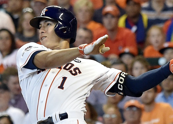 Houston shortstop Carlos Correa earned AL Rookie of the Year honors after leading all rookies with 22 home runs, becoming only the second Astro to be